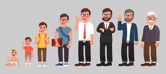 Complete life cycle of person's life. A baby, a child, a teenager, an adult, an elderly person. Generation of people and stages of growing up. Vector illustration in cartoon style