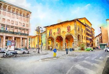 Italian life in watercolor style,  Livorno