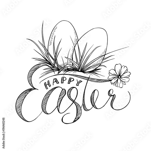 Easter Lettering And Two Eggs With Grass Camomile Flower Black And