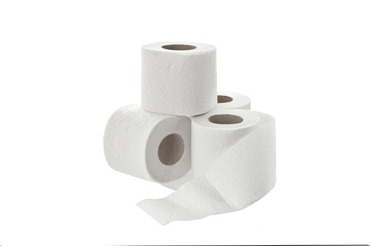 toilet paper on white background isolated