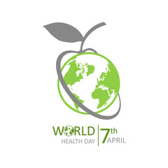 World Health Day lettering. Medical concept with earth. The logo of the World Health Day.