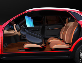Electric self-driving SUV car interior design. Front seats are equipped with monitors.  Concept for new business work style in car. 3D rendering image.