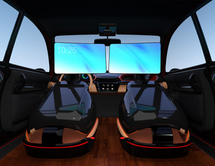 Electric self-driving SUV car interior design. Passengers can have video meeting by monitors on front seats. Concept for new business work style in car. 3D rendering image.