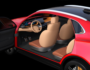 Close up metallic red Electric SUV interior on black background. 3D rendering image.