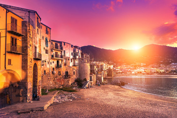 View on Cefalu at sunset, Sicily, Italy