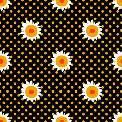Seamless pattern with daisies