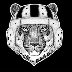 Rugby player. Wild cat Leopard Cat-o'-mountain Panther Hand drawn picture for tattoo, emblem, badge, logo, patch, t-shirt