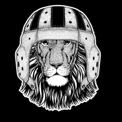 Rugby player. Hand drawn image of lion for tattoo, t-shirt, emblem, badge, logo, patch