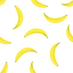 Bananas. Seamless Tropical pattern, watercolor hand drawn illustration