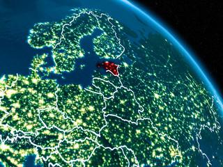 Satellite view of Estonia at night