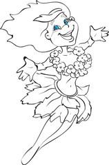 Amazing cute cartoon Hawaiian girl wearing traditional costume. Draft outline vector.