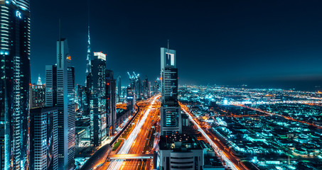 Dubai Cityscape Night Long Exposure Wall mural