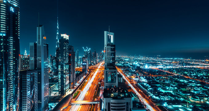 Dubai Cityscape Night Long Exposure