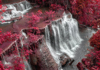 Mae Khamin Waterfall, beautiful waterfall in Kanchanaburi, Thailand.