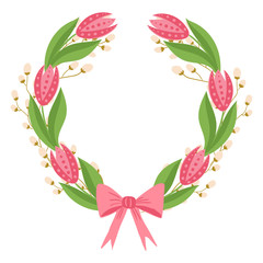 Beautiful easter wreath. Elegant floral collection with isolated leaves and flowers, hand drawn. Design for invitation, wedding or greeting cards
