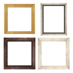 a set of brown wooden frames for pictures and photos isolated on white background