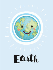 An earth cartoon character earth day mascot thumbs up globe