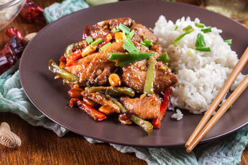 Kung Pao chicken with peppers and vegetables