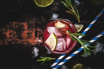 Refreshment alcoholic red cranberry and lime cocktail with rosemary and ice, two glass, dark background copy space top view