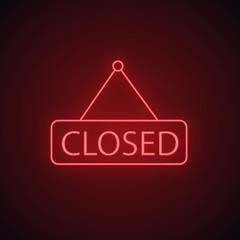 Closed hanging door neon light icon