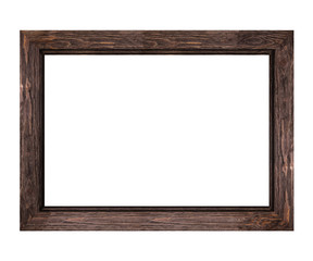 wide brown wooden frame for pictures and photos isolated on white background