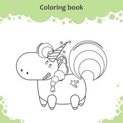 Color the cute cartoon little unicorn - coloring page for kids
