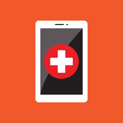 MOBILE HEALTHCARE FLAT ICON