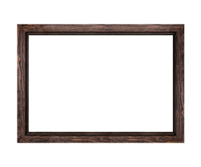 narrow dark brown wooden frame for pictures and photos isolated on white background
