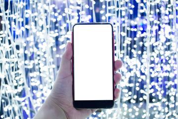 Smart phone white screen on light background