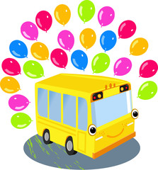 Yellow school bus and balloons