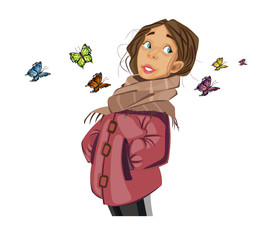 Teenage Girl cartoon character and butterflies Vector. Spring season moods