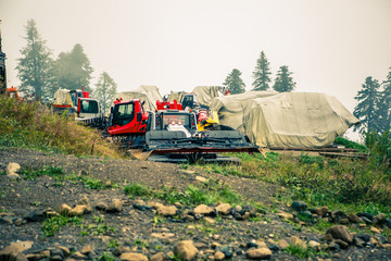 Image of construction machinery on hill