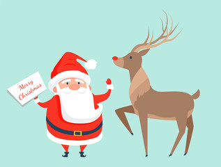 Santa Claus with Reindeer Icon Vector Illustration