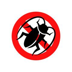 Icono plano cucaracha en señal prohibido