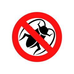 Icono plano señal prohibido cucaracha