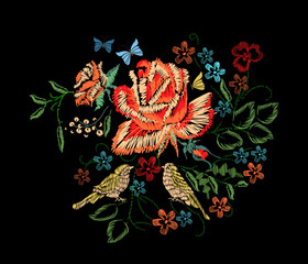 Floral Red Roses embroidery, butterfly, birds. Raster illustration