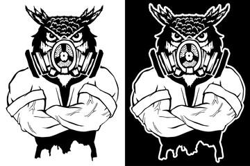 Steep fashionable owl. Vintage style illustration for tattoo, logo, emblem