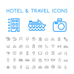 Set of 50 Minimal Thin Line Hotel and Travel Icons on White Background . Isolated Vector Elements