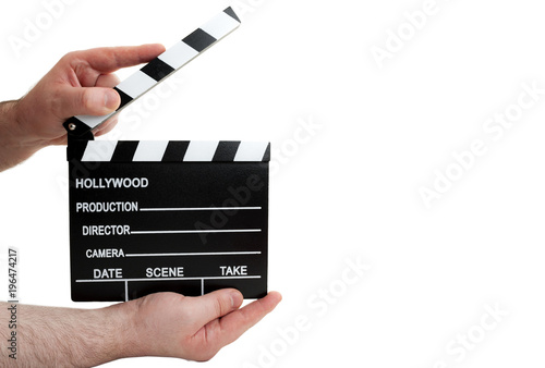 Hollywood Movie Production And Vintage Cinematography Concept With A Man Holding Clapboard Waiting For