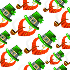 Repeat pattern for Patrick's Day, vector cartoon flat illustration isolated on white background
