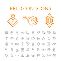 Set of 50 Minimal Thin Line Christian and Islamic Icons on White Background . Isolated Vector Elements