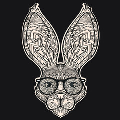 Cool and fashion face of rabbit with styled eyeglasses, vector illustration isolated on black background, can be used for some print or sticker