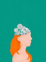 Illustration of Cogs in a woman's head