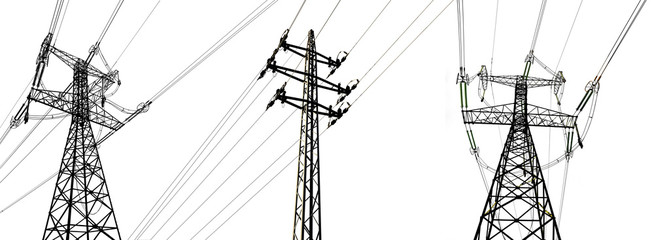 High voltage electricity towers isolated on a white background.