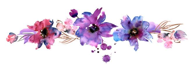 Cute watercolor hand painted flower border. Invitation. Wedding card. Birthday card.