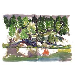 Coast lakes river pond Watercolor sketch Trees