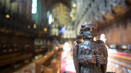 Wooden sculpture in Chester Cathedral Fotomurales