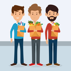 consumers with supermarket bag of groceries