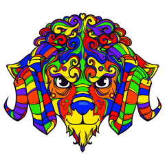 Line art face of sheep, ram with horns, vector cartoon illustration isolated on white background, colorful version