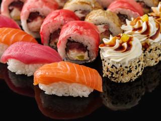 Sushi Set nigiri and sushi rolls closeup